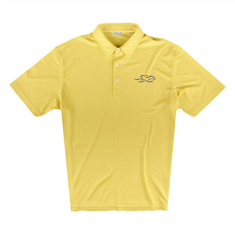 An eco pique polo shirt in yellow. EMBRACE THE RACE logo embroidered on left chest.
