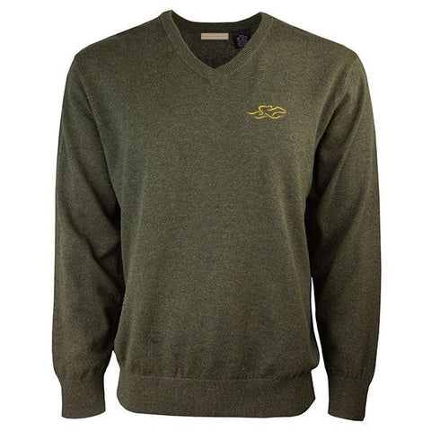 Olive colored classic cotton v neck pullover sweater.  EMBRACE THE RACE icon on the left chest.