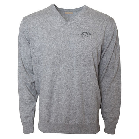 Classic gray v neck cotton sweater with ribbed wrist and hem.