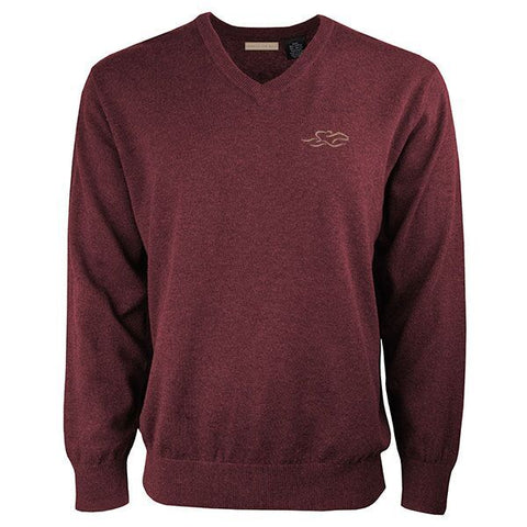 Wine colored classic cotton v neck pullover sweater.  EMBRACE THE RACE icon on the left chest.