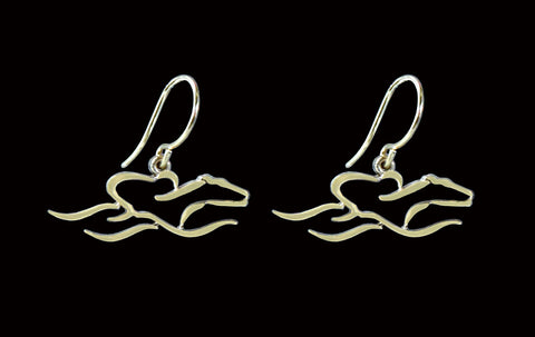 14 K Gold earrrings with French wire hoops and floating EMBRACE THE RACE icon.