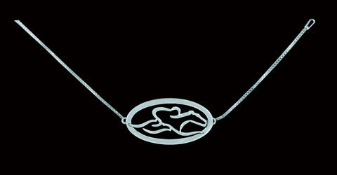 An adjustable sterling silver chain bracelet with EMBRACE THE RACE icon mounted on an oval base.