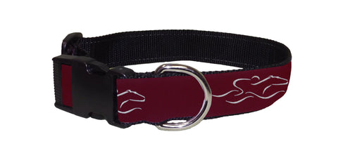 Adjustable dog collar with our signature EMBRACE THE RACE ribbon.  Black hardware and a nickel D ring