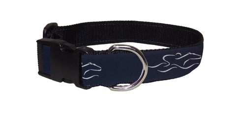 Adjustable dog collar with our signature navy EMBRACE THE RACE ribbon.  Black hardware and a nickel D ring
