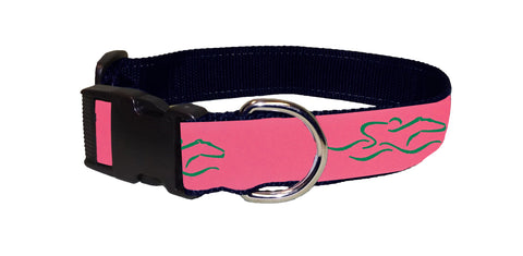 Adjustable dog collar with our signature pink and green EMBRACE THE RACE ribbon.  Black hardware and a nickel D ring