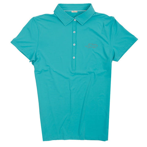 A silky smooth eco polo shirt in aqua.  EMBRACE THE RACE logo embroidered on left chest.