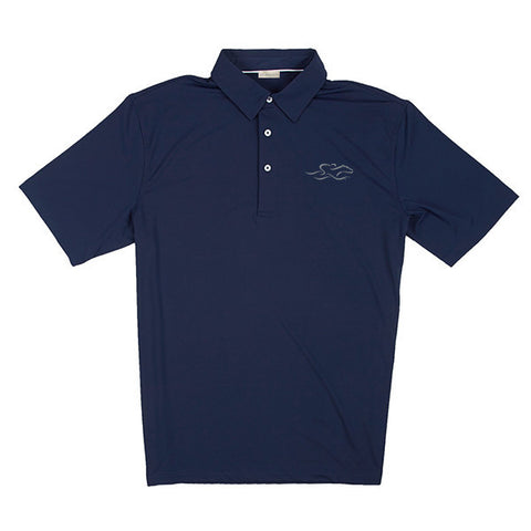 A silky smooth eco polo shirt in navy.  EMBRACE THE RACE logo embroidered on left chest.
