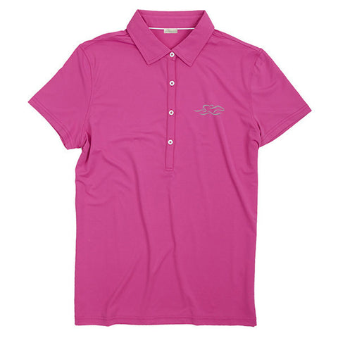 A silky smooth eco polo shirt in pink.  EMBRACE THE RACE logo embroidered on left chest.
