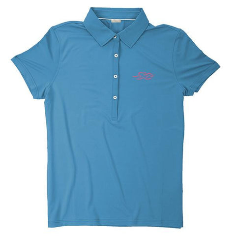 A silky smooth eco polo shirt in sky blue.  EMBRACE THE RACE logo embroidered on left chest.