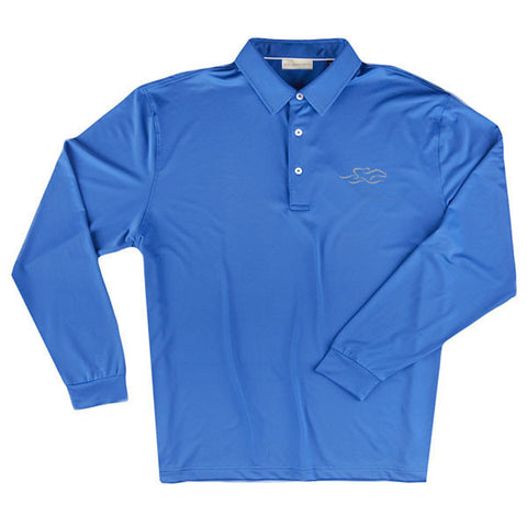 A long sleeve silky smooth eco polo shirt in nautical.  EMBRACE THE RACE logo embroidered on left chest.