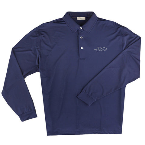 A long sleeve silky smooth eco polo shirt in navy.  EMBRACE THE RACE logo embroidered on left chest.