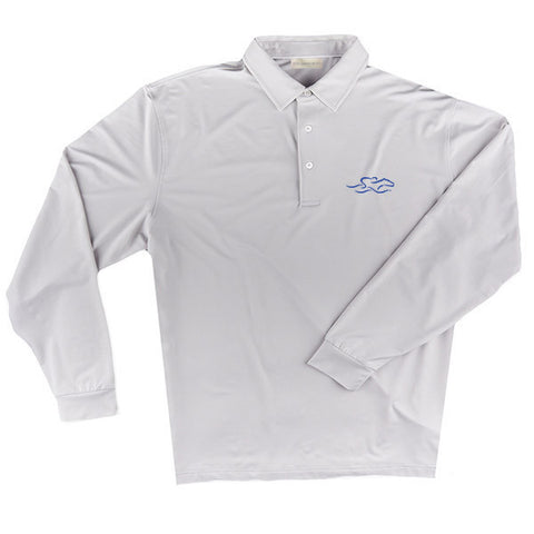 A long sleeve silky smooth eco polo shirt in silver gray.  EMBRACE THE RACE logo embroidered on left chest.