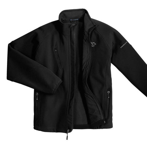 A black soft shell textured jacket with EMBRACE THE RACE logo embroidered on left chest.