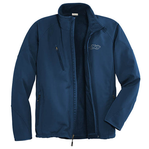 A blue soft shell textured jacket with EMBRACE THE RACE logo embroidered on left chest.