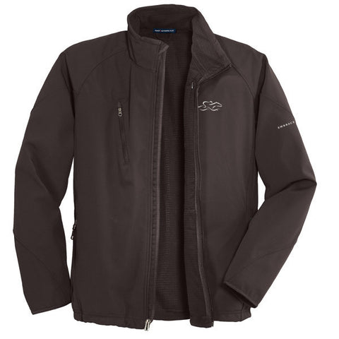 A chocolate brown soft shell textured jacket with EMBRACE THE RACE logo embroidered on left chest.