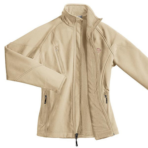 A pearl colored soft shell textured jacket with EMBRACE THE RACE logo embroidered on left chest.