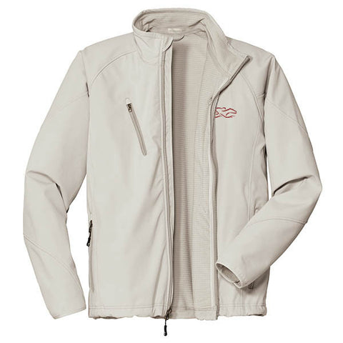 A stone soft shell textured jacket with EMBRACE THE RACE logo embroidered on left chest.