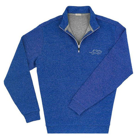 Royal blue qtr zip with a subtle silver stripe that canvasses our logo perfectly.  Flecks of color highlight this item.