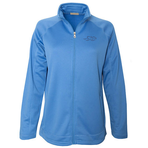 Carolina blue full zip polyester sport jacket with open him and cuff.  Light polyester fleece on the inside.  EMBRACE THE RACE logo embroidered on the left chest in navy.