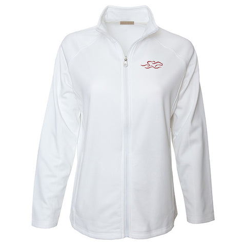 White full zip polyester sport jacket with open him and cuff.  Light polyester fleece on the inside.  EMBRACE THE RACE logo embroidered on the left chest in our signature cardinal color.