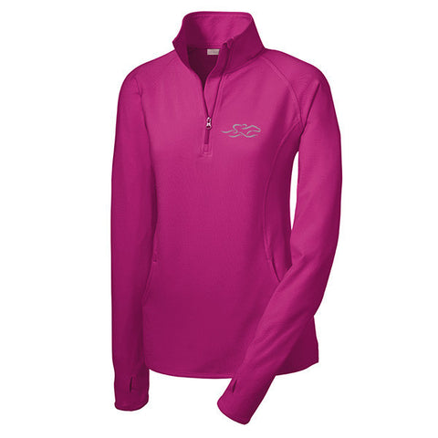A lightweight super sport pullover in berry with the EMBRACE THE RACE logo embroidered on left chest.  Thumbholes in the sleeves for added warmth.