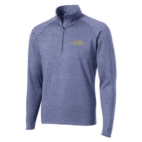 A navy lightweight super sport pullover in navy with the EMBRACE THE RACE logo embroidered on left chest