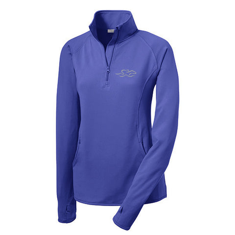 A lightweight super sport pullover in iris blue with the EMBRACE THE RACE logo embroidered on left chest.  Thumbholes in the sleeves for added warmth.