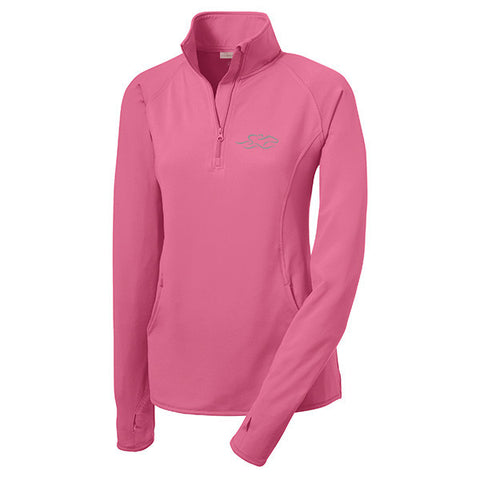 A lightweight super sport pullover in soft pink with the EMBRACE THE RACE logo embroidered on left chest.  Thumbholes in the sleeves for added warmth.