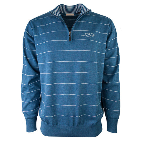 Beautiful lake blue quarter zip sweater with small white pinstripes.  EMBRACE THE RACE logo embroidered on the left chest.  Lightly banded at the wrist and hem for the perfect fit.
