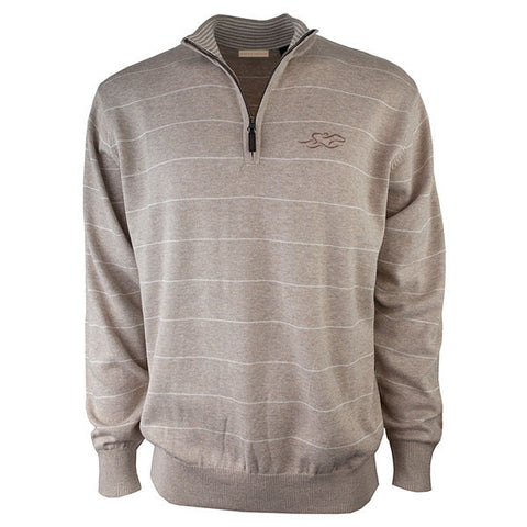 Beautiful tan quarter zip sweater with small white pinstripes.  EMBRACE THE RACE logo embroidered on the left chest.  Lightly banded at the wrist and hem for the perfect fit.