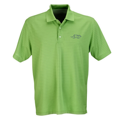 A lime tonal textured stripe performance polo.  EMBRACE THE RACE logo embroidered on the left chest.