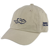 A toddler size garment washed cotton twill stone hat with navy icon, elastic back for comfort fit. EMBRACE THE RACE icon center front and wordmark on the side.