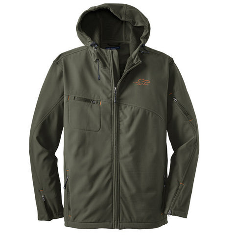 A deep green hooded soft shell jacket with orange bar tack trim and EMBRACE THE RACE logo embroidered on left chest.