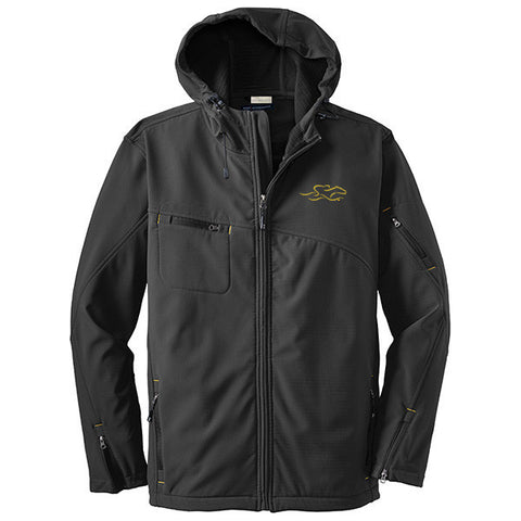 A gray hooded soft shell jacket with yellow bar tack trim and EMBRACE THE RACE logo embroidered on left chest.