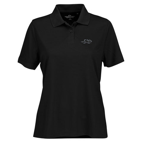 A performance micro-mesh knit polo in black with a 2-button placket. EMBRACE THE RACE logo embroidered on left chest.
