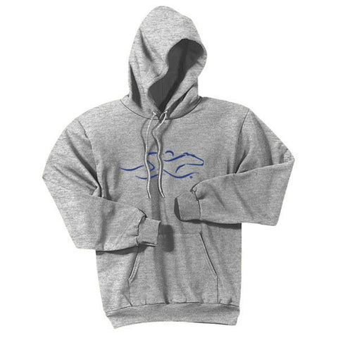 A gray hoodie sweatshirt with EMBRACE THE RACE logo center front in Navy.  Workmark across the back shoulder.