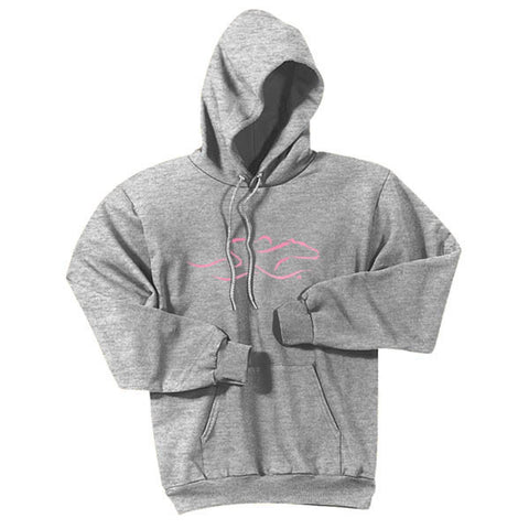 A gray hoodie sweatshirt with EMBRACE THE RACE logo center front in Pink.  Workmark across the back shoulder.