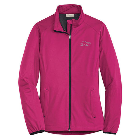 A berry colored polyester lightweight full zip jacket with EMBRACE THE RACE icon embroidered on left chest.