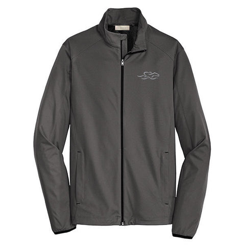 A gray polyester lightweight full zip jacket with EMBRACE THE RACE icon embroidered on left chest.