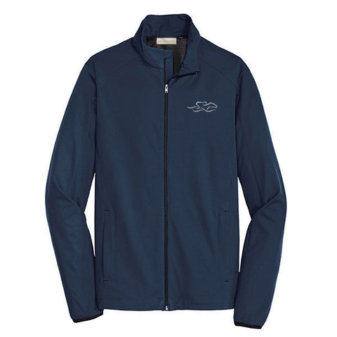 A navy polyester lightweight full zip jacket with EMBRACE THE RACE icon embroidered on left chest.