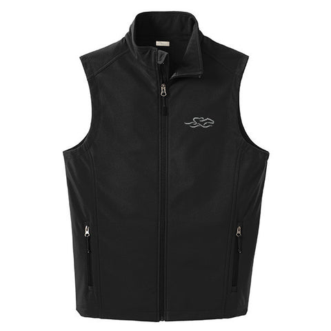 A black soft shell versatile vest with EMBRACE THE RACE logo embroidered on left chest.