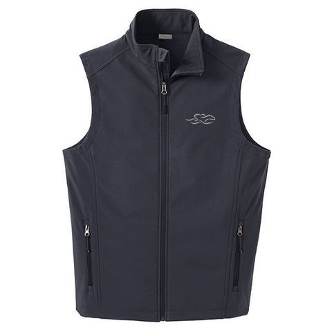 A stone soft shell versatile vest with EMBRACE THE RACE logo embroidered on left chest.