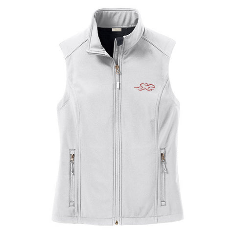 An ivory soft shell versatile vest with EMBRACE THE RACE logo embroidered on left chest.