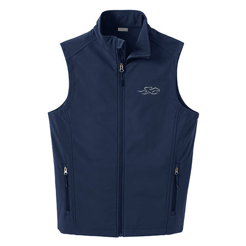 A navy soft shell versatile vest with EMBRACE THE RACE logo embroidered on left chest.