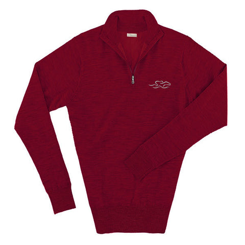 A wind blocked merino wool swater in red with the EMBRACE THE RACE logo embroidered on left chest.