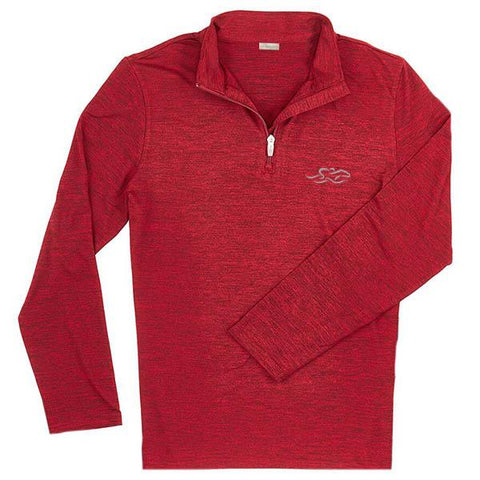 Long sleeve super soft qtr zip pullover in heather red and black