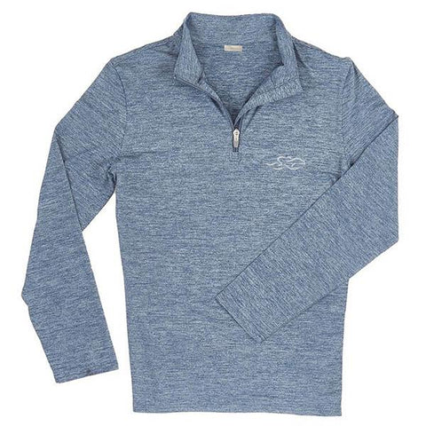 Long sleeve super soft qtr zip pullover in heathered navy and gray