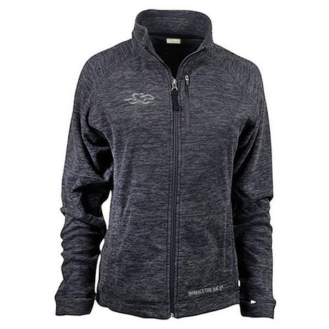 Heathered gray micro fleece full zip jacket with front and side pockets.  Beautiful adorned with the EMBRACE THE RACE logo on the right chest and wordmark on the bottom hem.