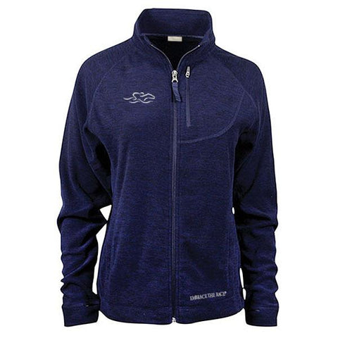 Navy micro fleece full zip jacket with front and side pockets.  Beautiful adorned with the EMBRACE THE RACE logo on the right chest and wordmark on the bottom hem.