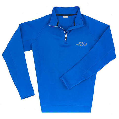 A knitted royal performance fabric that is highly water resistant.  This 1/4 zip pullover is adorned with metal zipper at neck.  EMBRACE THE RACE icon embroidered on left chest.